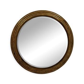 Jonathan Charles Furniture Round Walnut Wall Mirror