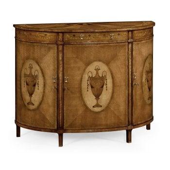 Jonathan Charles Furniture Adam Style Walnut Demilune Cabinet