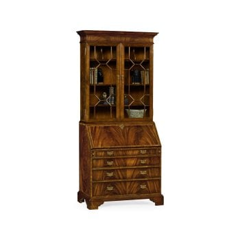 Jonathan Charles Furniture Georgian Style Mahogany Bookcase Writing Desk Cabinet