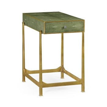 Jonathan Charles Furniture Art Deco Green Leather Side Table