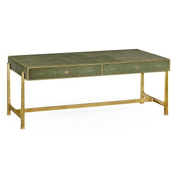 Jonathan Charles Furniture Green Leather Art Deco Coffee Table
