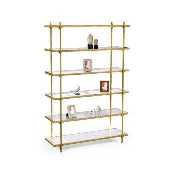 Jonathan Charles Furniture Luxury Gold Etagere Display Bookcase With Six Glass Shelves