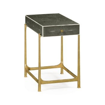 Jonathan Charles Furniture Art Deco Grey Leather Side Table