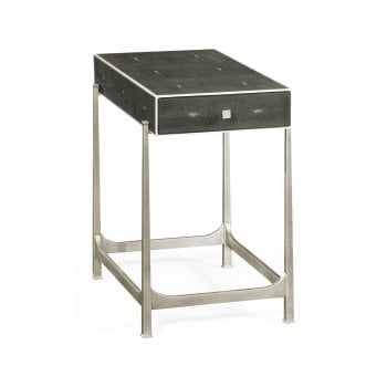 Jonathan Charles Furniture Grey Leather Art Deco Side Table