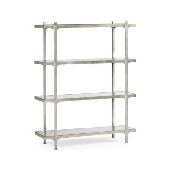 Jonathan Charles Furniture Silver Etagere Display Bookcase With Four Glass Shelves