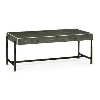 Jonathan Charles Furniture Grey Leather Art Deco Coffee Table With Drawers