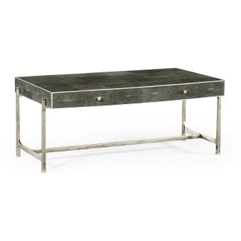 Jonathan Charles Furniture Grey Leather Art Deco Coffee Table