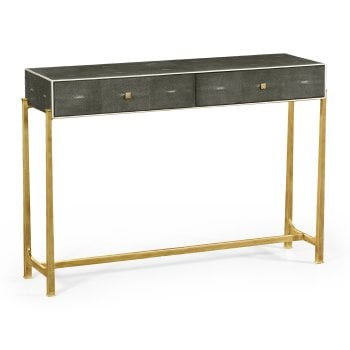 Jonathan Charles Furniture Grey Leather Art Deco Console Table