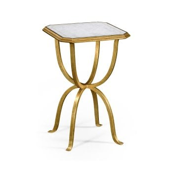 Jonathan Charles Furniture Designer Mirrored Small Side Table, Gold