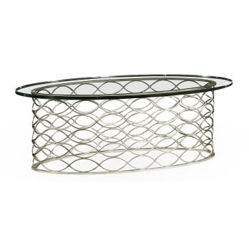 Jonathan Charles Furniture Minimalistic Oval Glass Coffee Table