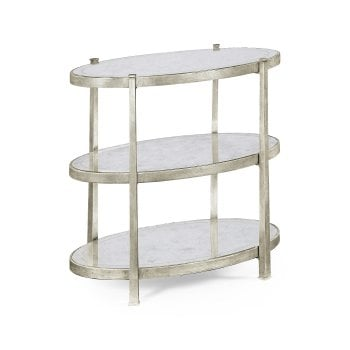 Jonathan Charles Furniture Luxury Designer 3-Tier Glass Side Table, Silver