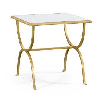 Jonathan Charles Furniture Luxury Designer Gold Lamp Table With Glass Top
