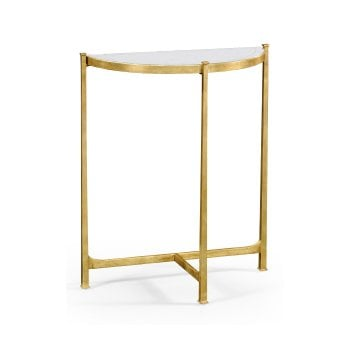 Jonathan Charles Furniture Luxury Designer Small Glass Gold Console Table