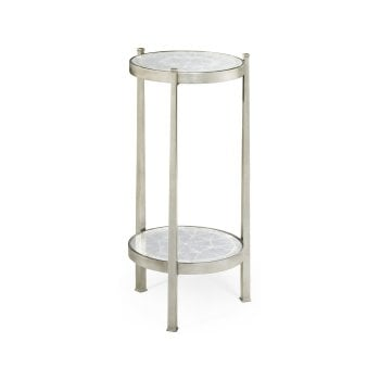 Jonathan Charles Furniture Luxury Small Glass Wine Table, Silver