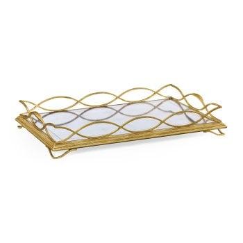 Jonathan Charles Furniture Luxury Gold Mirror Serving Tray, Rectangular