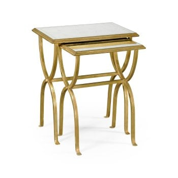Jonathan Charles Furniture Gold Nest of Tables With Glass Top