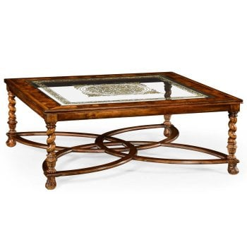 Jonathan Charles Furniture Luxury Square Coffee Table With Decorated Glass Top 52''