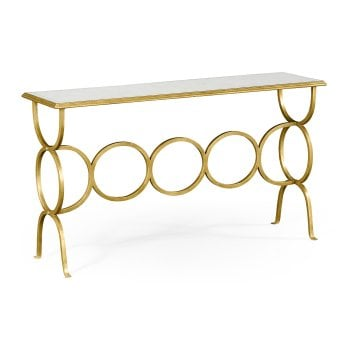 Jonathan Charles Furniture Designer Mirrored Gold Console Table