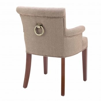 Eichholtz Furniture Dining Chair With Back Ring & Armrests, Camel Linen