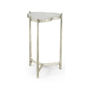 Jonathan Charles Furniture Trefoil Mirrored Side Table, Silver