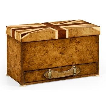 Jonathan Charles Furniture Union Jack Wooden Box/Designer Walnut Box