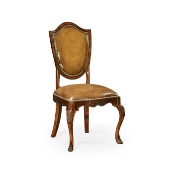 Jonathan Charles Furniture Brown Leather Dining Chair, Mahogany