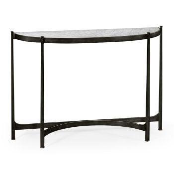 Jonathan Charles Furniture Large Églomisé & Bronze Iron Demilune Console Table
