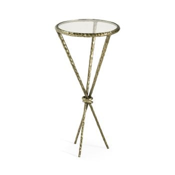 Jonathan Charles Furniture Hammered Brass Round Wine Table