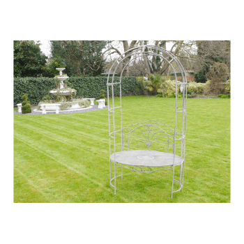 Grey Arbour Bench With Arch