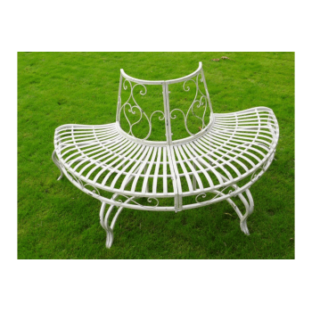 Garden Tree Bench Seat Half Round White Iron Ornate