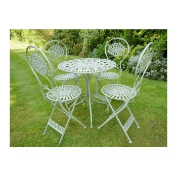 Green Round Metal Patio Garden Table 4 Chair Set