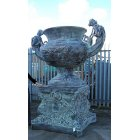 Large Copper Finish Ornate Blue Urn with Base