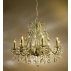 8 Light Glass Chandelier, Cream Crack Finish