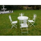 White 4 Seater Dining Set / White Patio Set