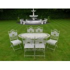 White 6 Seater Outdoor Dining Set / White Patio Set