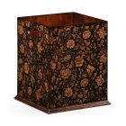 Jonathan Charles Furniture Black Floral Wooden Wastepaper Bin