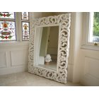 Large French White Ornate Wall Mirror, Gloss