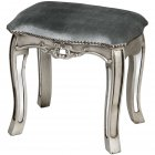 French Silver Dressing Table Stool, Mirrored