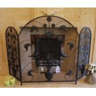 Vintage Black Iron Fire Screen/Black Iron 3 Panel Fire Guard