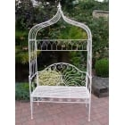 White Garden Arbour Bench And Metal Arch