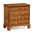 Jonathan Charles Furniture Walnut Small Chest of Drawers With Floral Parquetry