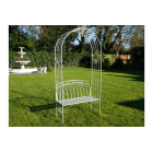 Outdoor Green Arbour Bench With Arch