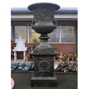 Tall Black Ornate Planter Urn With Base