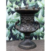 Large Black Ornate Urn with Lid