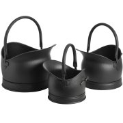 Victorian Set Of Three Black Coal Buckets