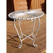 White Retro Atomic Garden Table