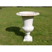 Outdoor White Planter Urn, Rusty