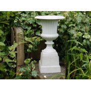 White Urn with Base, Small