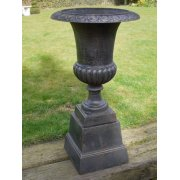 Garden Black Planter Urn with Base