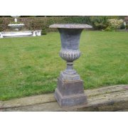 Outdoor Decorative Small Black Urn with Base
